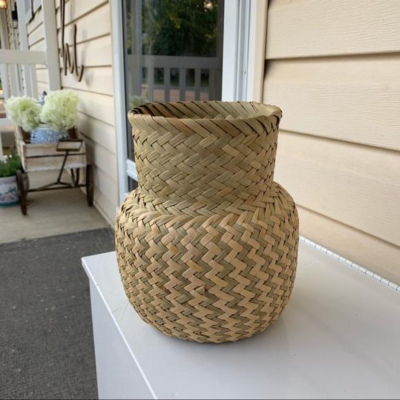 Vintage Seagrass woven vase planter